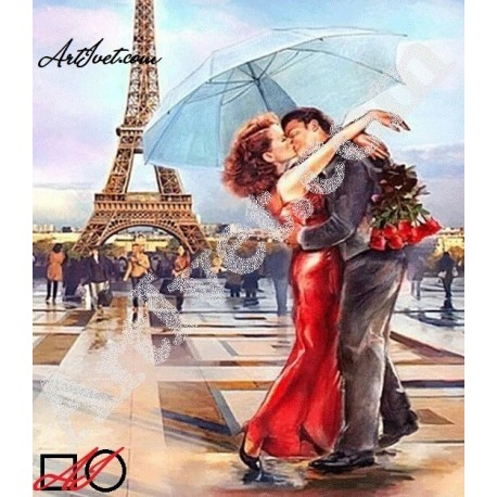 Наличен Диамантен гоблен ЛЮБОВ В ПАРИЖ: Размер и Вид - Квадратни диаманти 35х30