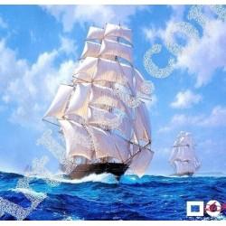 Наличен Диамантен гоблен КОРАБ С БЕЛИ ПЛАТНА: Размер и Вид - Квадратни диаманти 30х30