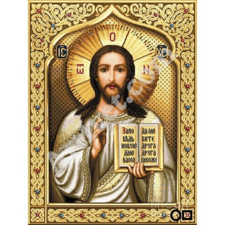 Наличен Диамантен гоблен ИСУС ВИ БЛАГОСЛАВЯ: Размер и Вид - Кръгли диаманти 40х32