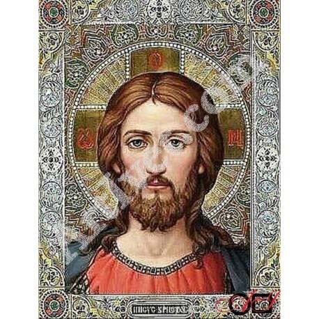 Наличен Диамантен гоблен ИСУС - ЖИВИЯТ БОГ: Размер и Вид - Кръгли диаманти 40х30