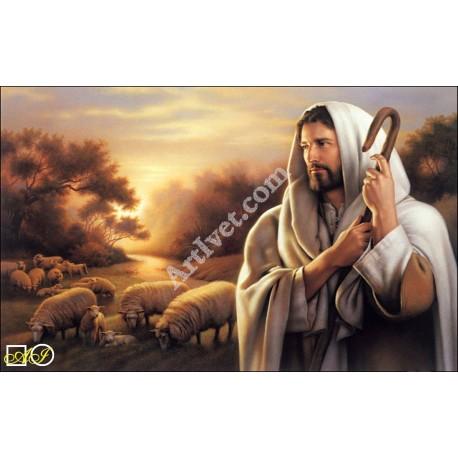 Наличен Диамантен гоблен ИСУС - ПАСТИР НАШ: Размер и Вид - Кръгли диаманти 43х30