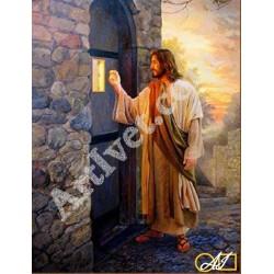 Наличен Диамантен гоблен ИСУС ЧУКА НА ВРАТАТА: Размер и Вид - Кръгли диаманти 40х30