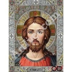 Наличен Диамантен гоблен ИСУС - ЖИВИЯТ БОГ: Размер и Вид - Кръгли диаманти 28х21