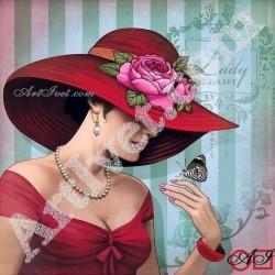 Наличен Диамантен гоблен ДАМАТА С ПЕПЕРУДАТА: Размер и Вид - Кръгли диаманти 25х25