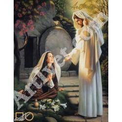 Наличен Диамантен гоблен ИСУС СЕ ЯВЯВА НА МАРИЯ МАГДАЛЕНА: Размер и Вид - Квадратни диаманти 40х32