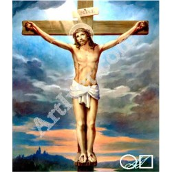 Наличен Диамантен гоблен ИСУС НА КРЪСТА: Размер и Вид - Кръгли диаманти 25х20