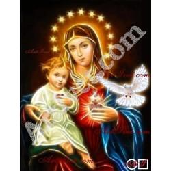Наличен Елмазен гоблен ДЕВАТА И ИСУС - ДОКОСНАТИ ОТ СВЕТИЯ ДУХ: Размер и Вид - Квадратни диаманти 28х21